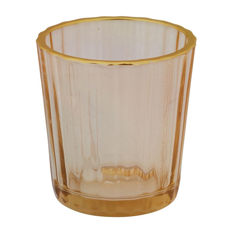 Theelichthouder ribbel - geel - ⌀5.5x6 cm
