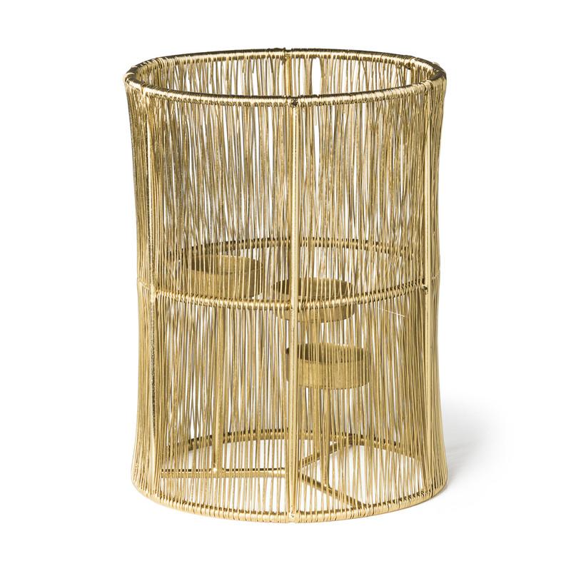 Lantaarn draad - goud - ⌀15x20 cm