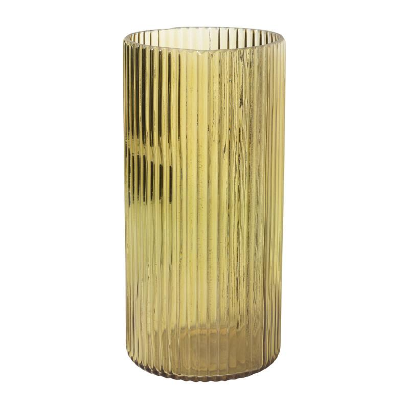 Theelichthouder ribbel - geel - ⌀11.5x28.5 cm