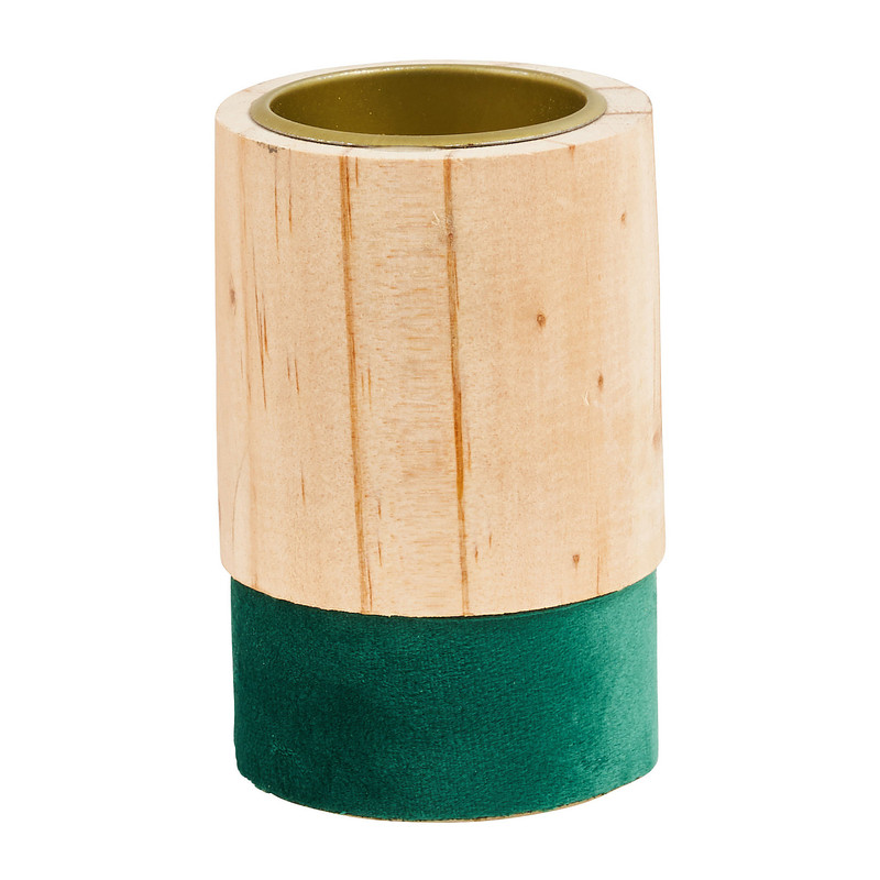 Theelichthouder hout/groen - klein - �5.5x9 cm