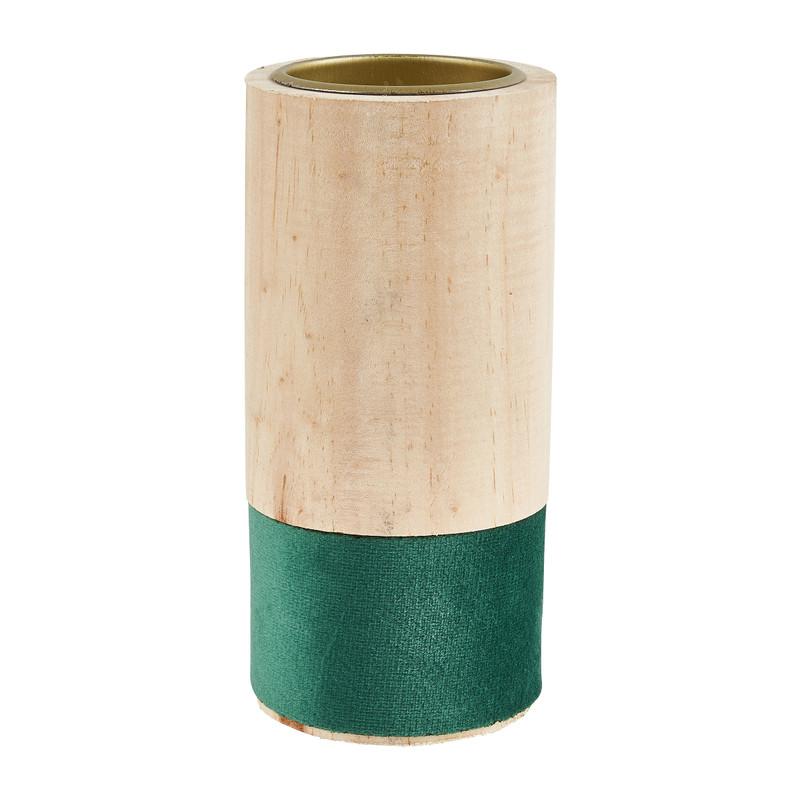 Theelichthouder hout/groen - �6x12 cm