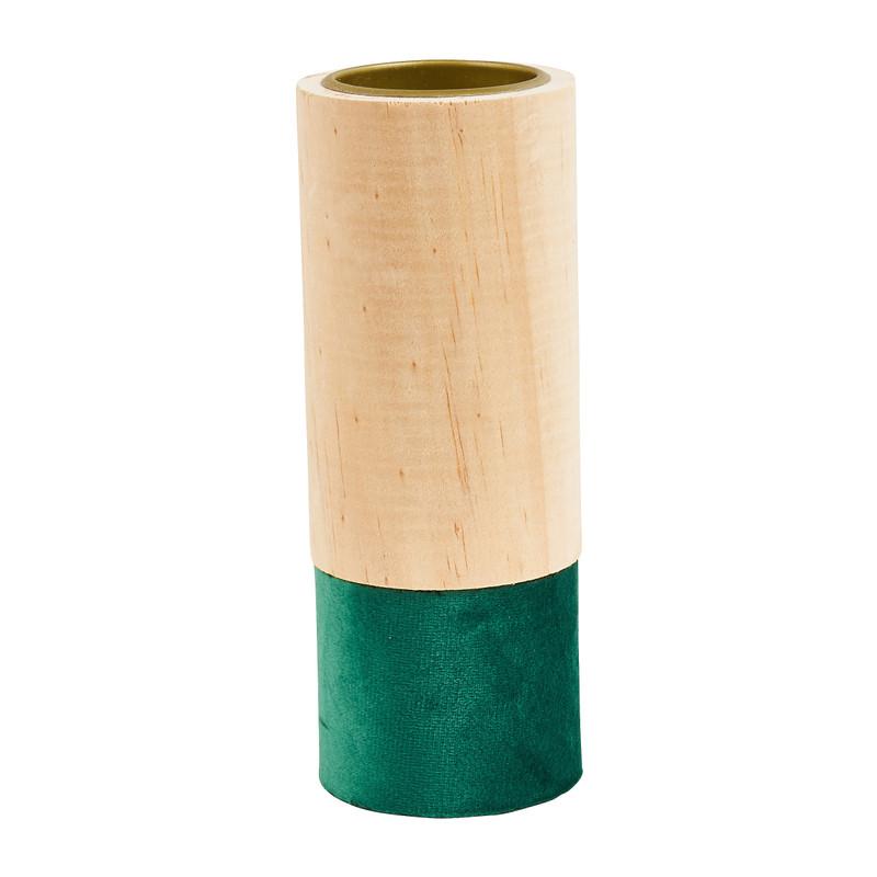 Theelichthouder hout/groen - groot - �5.5x15 cm