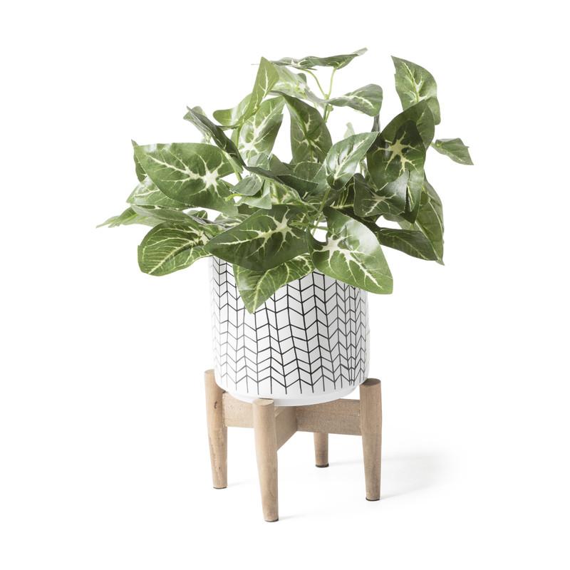 Plantenbak op pootjes - hokjes - ø15.5x21 cm