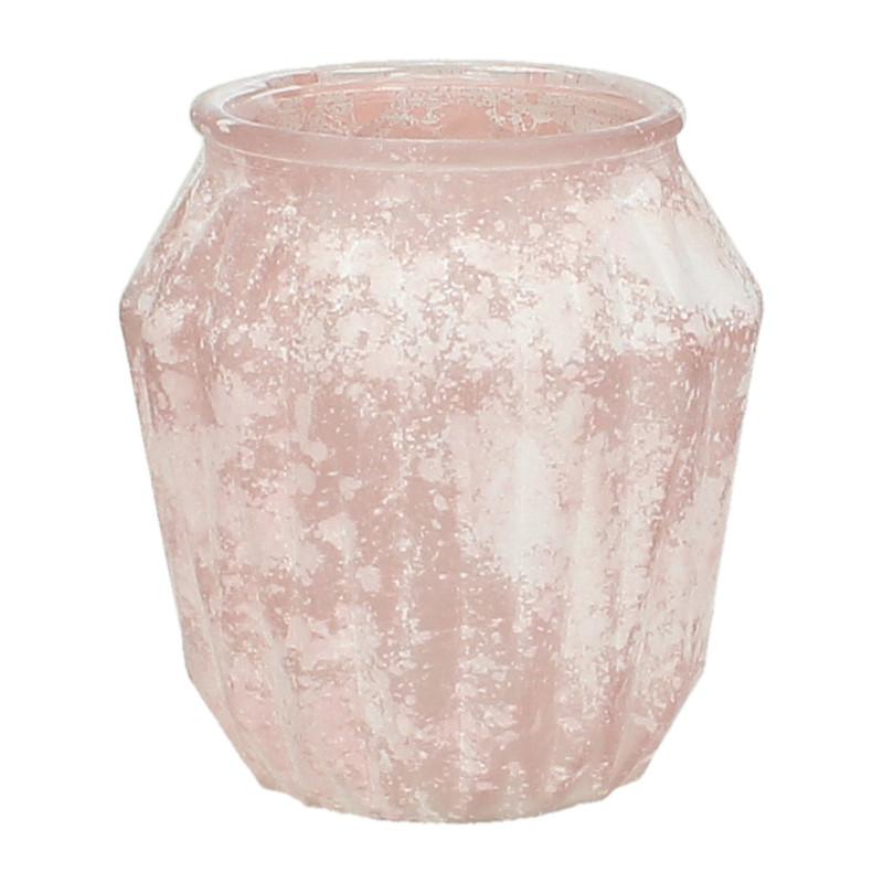 Glazen Vaas Xenos.Glazen Vaas Roze 12 Cm