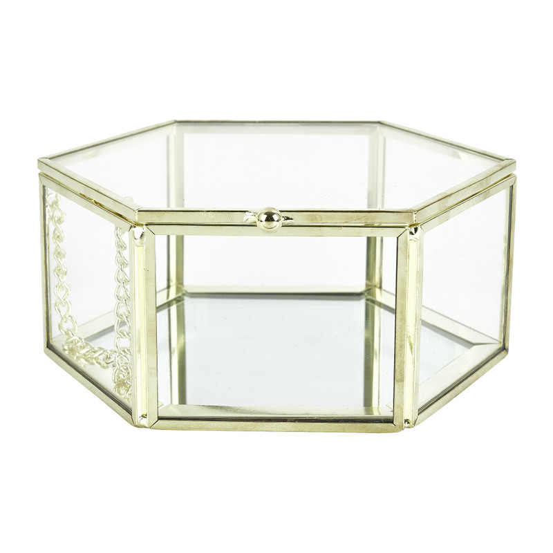 Opbergdoosje hexagoon - goud - 12.5x12.5x5.5 cm kopen
