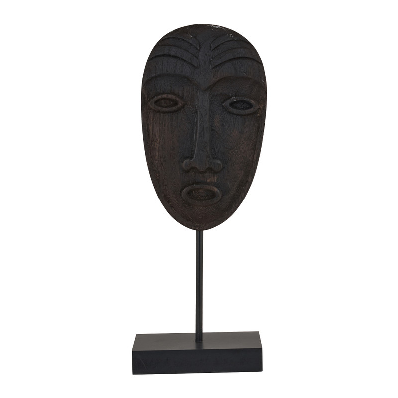 Houten masker staand - zwart - 13,5x8x36 cm