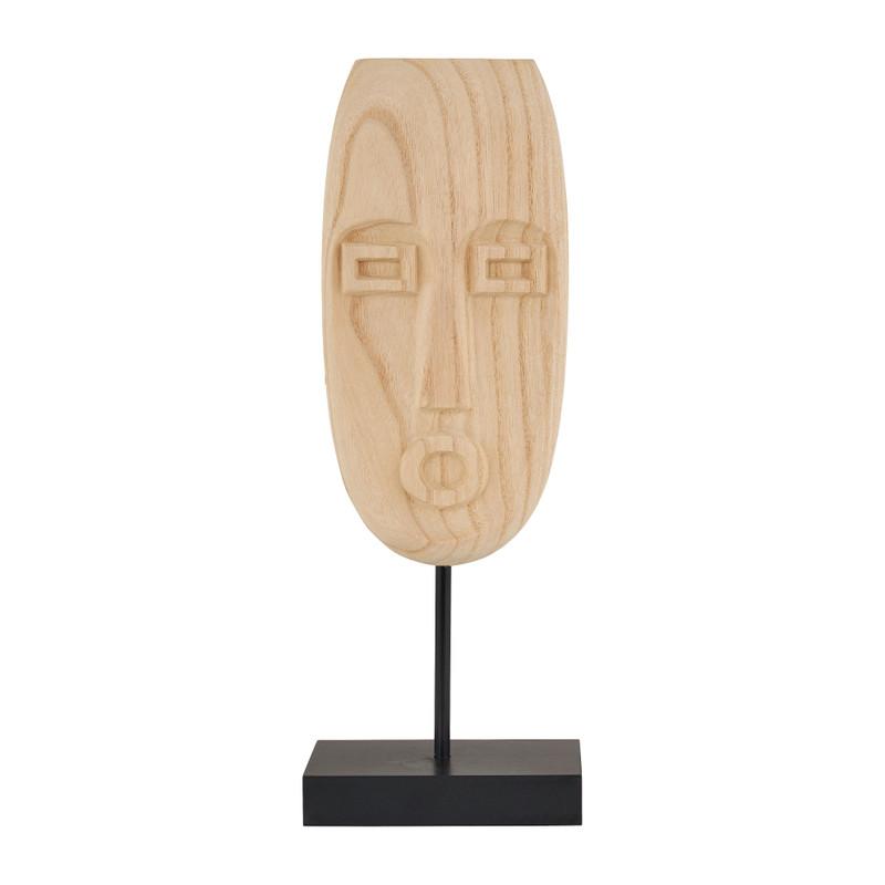 Houten masker staand - naturel - 13,5x8x36 cm