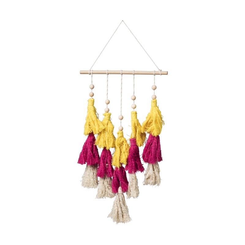 Hanger met kwastjes - geel/roze/naturel - 50x30 cm