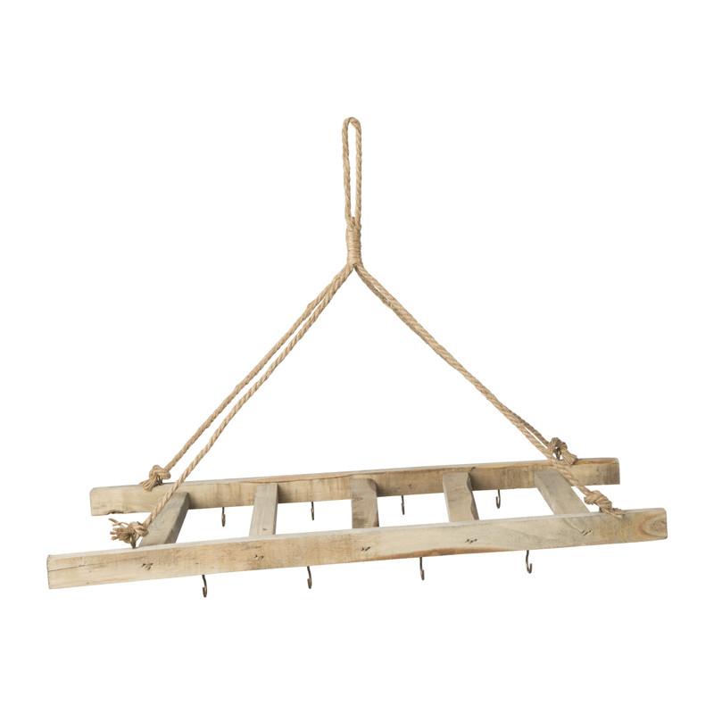 Hangende ladder met haakjes- natural - 60x25x3 cm