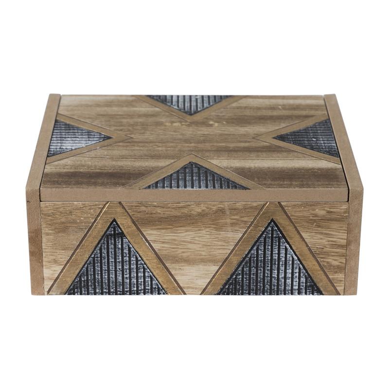 Opbergdoosje hout relief - 22x17x8 cm