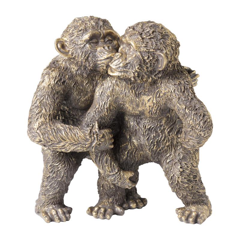 Knuffelende apen - goud - 18x14x21 cm
