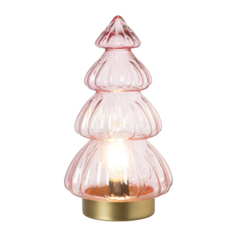 Lamp kerstboom - roze - ⌀15x28 cm