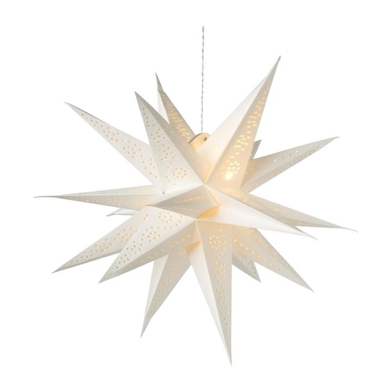 Papieren ster met licht - wit - ⌀60 cm
