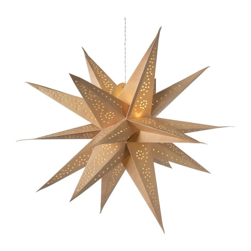 Papieren ster met licht - hout look - ⌀60 cm