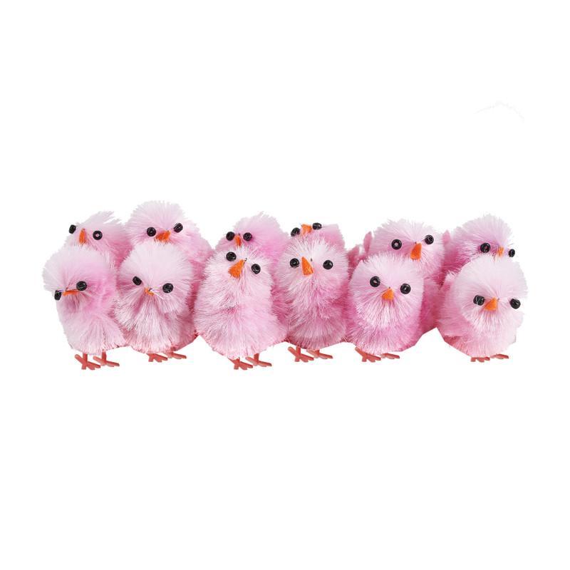 Chenille kuikens roze 12 stuks