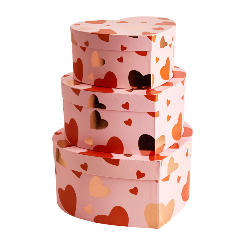 Cadeaudoos hart - roze - set van 3