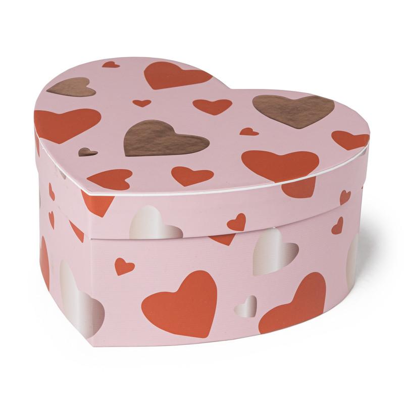 Cadeaudoos hart - roze - 30x26x15 cm