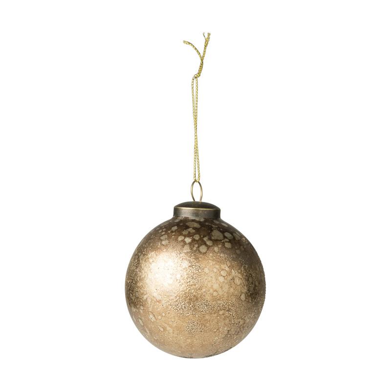 Kerstbal bruin - glas - 8 cm