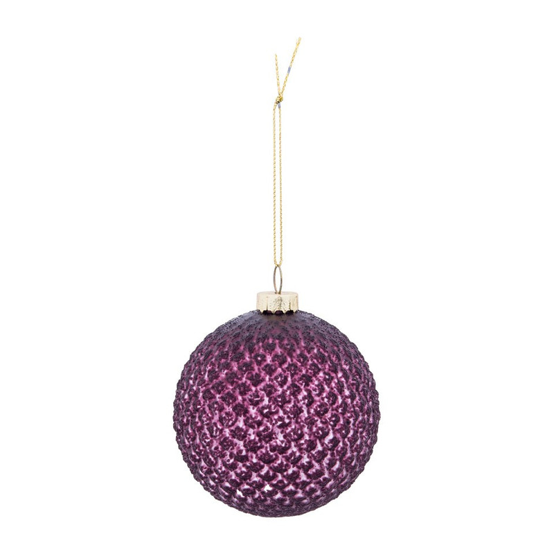 Paarse Kerst Accessoires.Kerstbal Paars Mat Glas