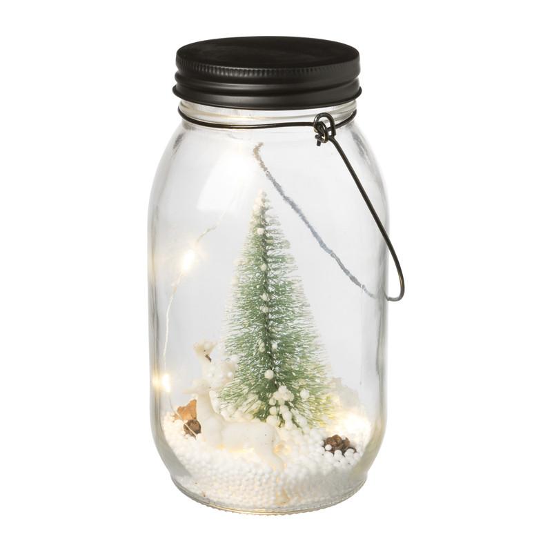 Kerstboom in pot met verlichting - 9x9x17.5 cm
