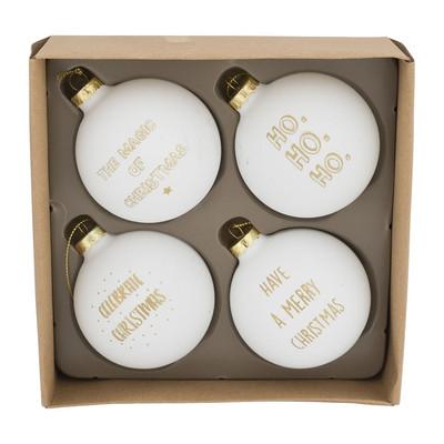 Kerstbal Gouden Tekst 7 Cm Wit Set Van 4 Xenos
