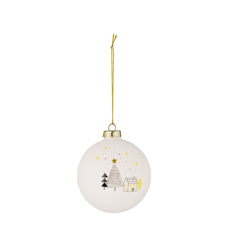 Kerstbal mat - huis - wit