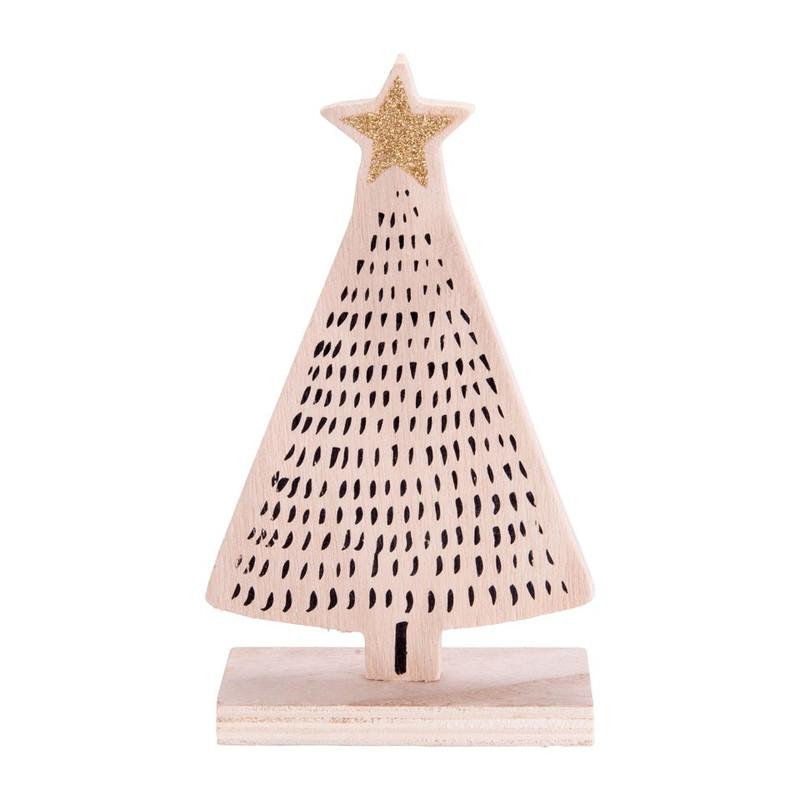 kerstboom hout - streepjes - 10.5x18 cm   xenos