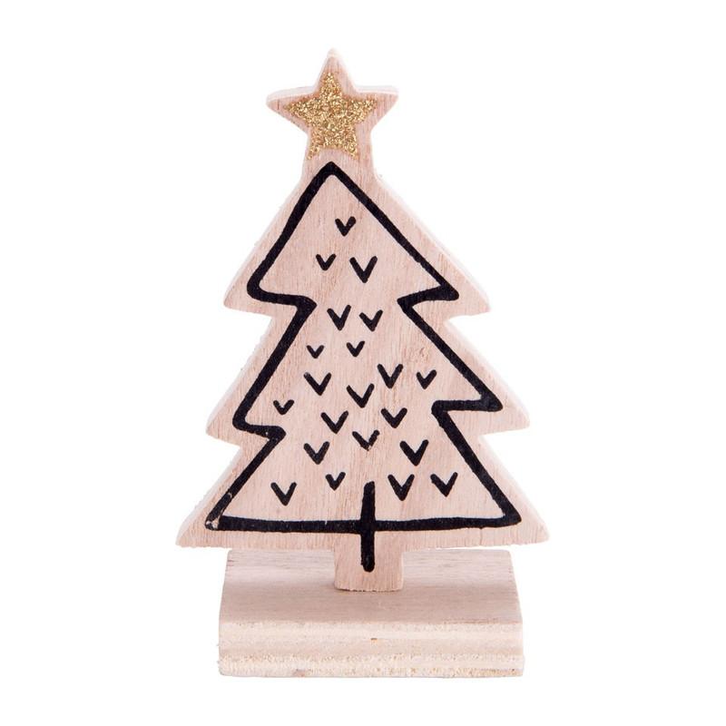 kerstboom hout - vinkjes - 7.5x12 cm   xenos