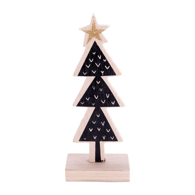 kerstboom hout - vinkjes - 5x15.5 cm   xenos