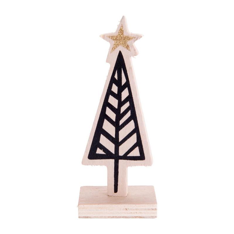 kerstboom hout - grafisch - 5.5x15 cm   xenos