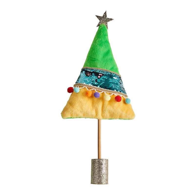 Kerstboom pompom groen 38 cm hoog