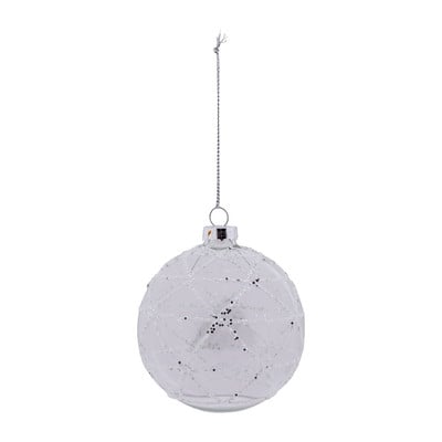 Glazen Kerstbal Met Witte Strepen Transparant 8 Cm Xenos