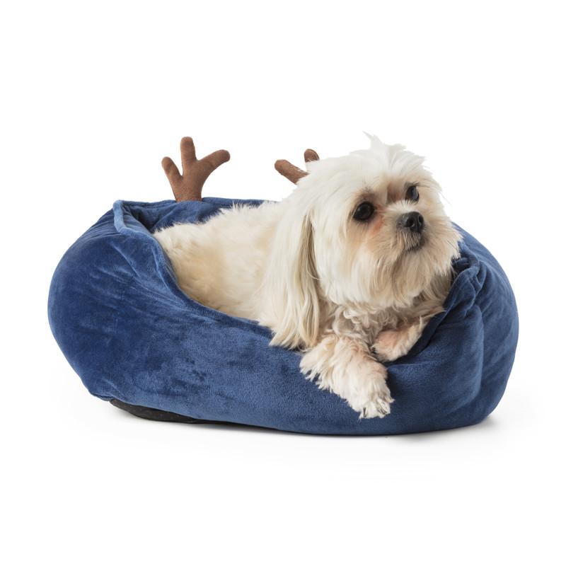 Hondenmand - kerst - blauw