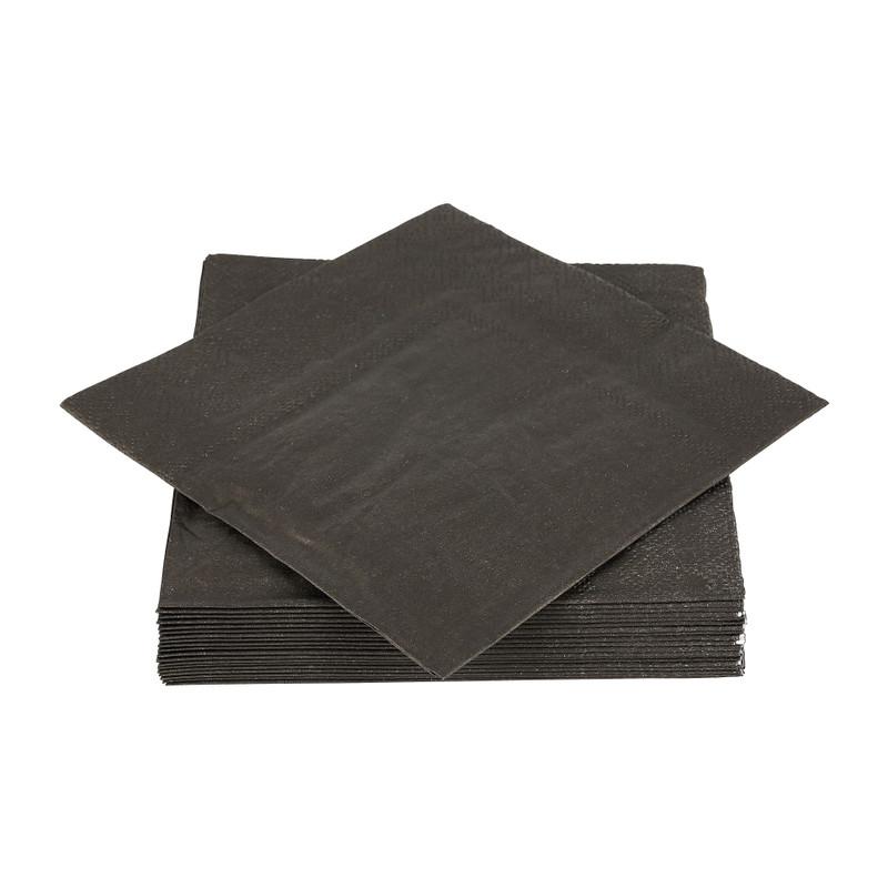 Snackservetten - zwart - 20 stuks - 25x25cm