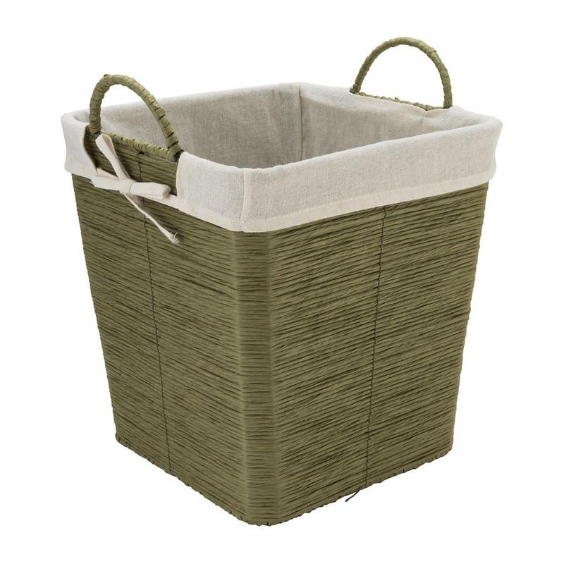 Wasmand Batavia met voering - groen - 30x30x32 cm