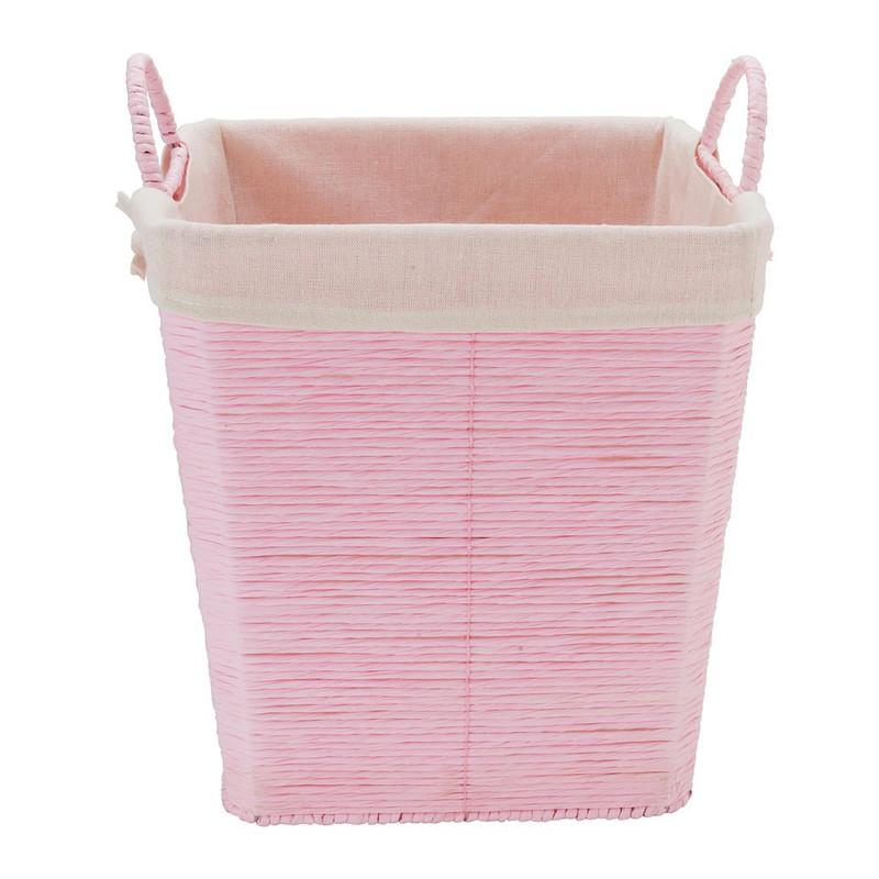 Wasmand Batavia met voering - roze - 30x30x32 cm