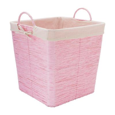 Wasmand Batavia met voering - roze - 35x35x36 cm