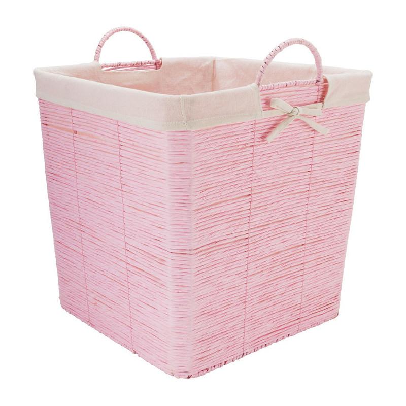 Wasmand Batavia met voering - roze - 40x40x40 cm