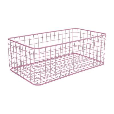 Lademand gevlochten metaal - roze - 25x45x16 cm