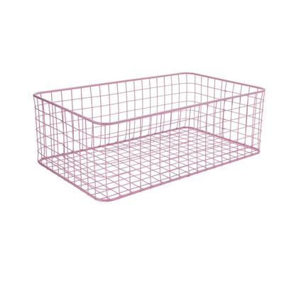Lademand gevlochten metaal - roze - 30x50x17 cm