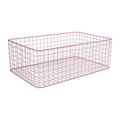 Lademand gevlochten metaal - roze - 35x55x19 cm