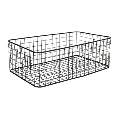 Lademand gevlochten metaal - zwart - 30x50x17 cm
