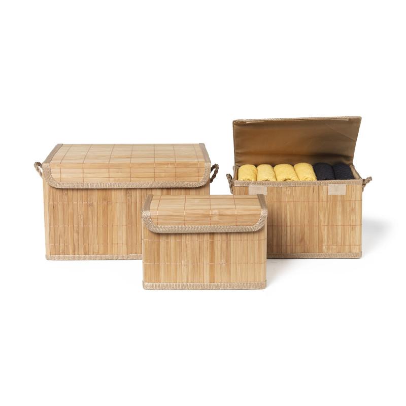 Opbergmand bamboe latjes - 26x37x22 cm