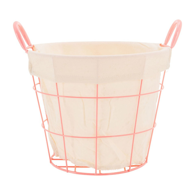 Mand metaal met voering - 32x36x26 cm - roze