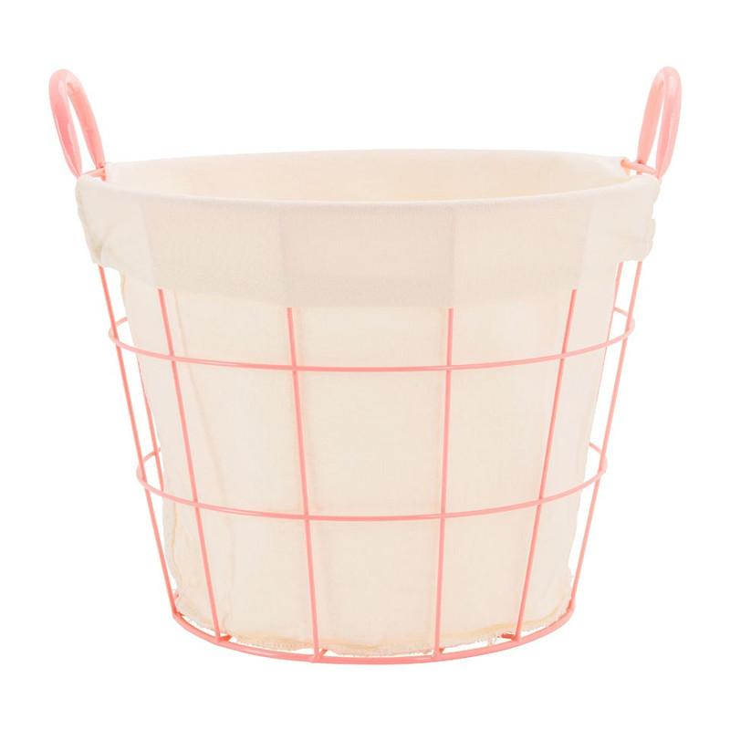 Mand metaal met voering - 36x38x28 cm - roze