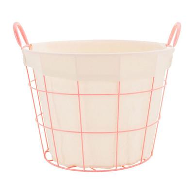 Mand metaal met voering - 40x44x30 cm - roze