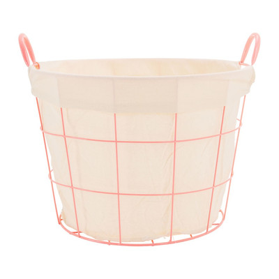 Mand metaal met voering - 44x47x32 cm - roze