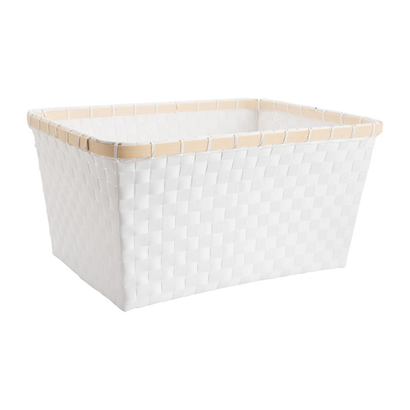 Lademand bamboe rand - wit - 41x31x20 cm