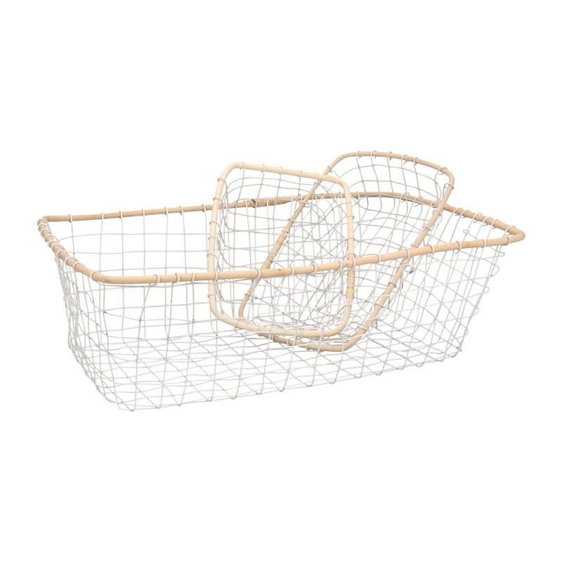 Draadmand met bamboe rand - 63x41 cm