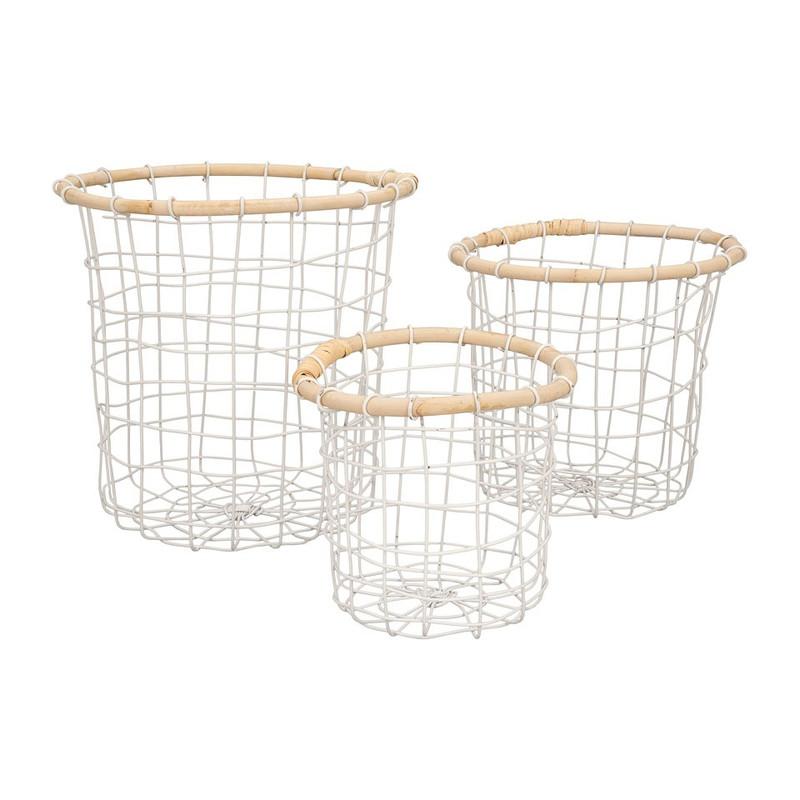Draadmand met bamboe rand - wit - 17x17 cm